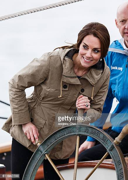 Catherine Duchess of Cambridge helms the tall ship Pacific Grace in Victoria Harbour on the final day of their Royal Tour of Canada on October 1 2016...