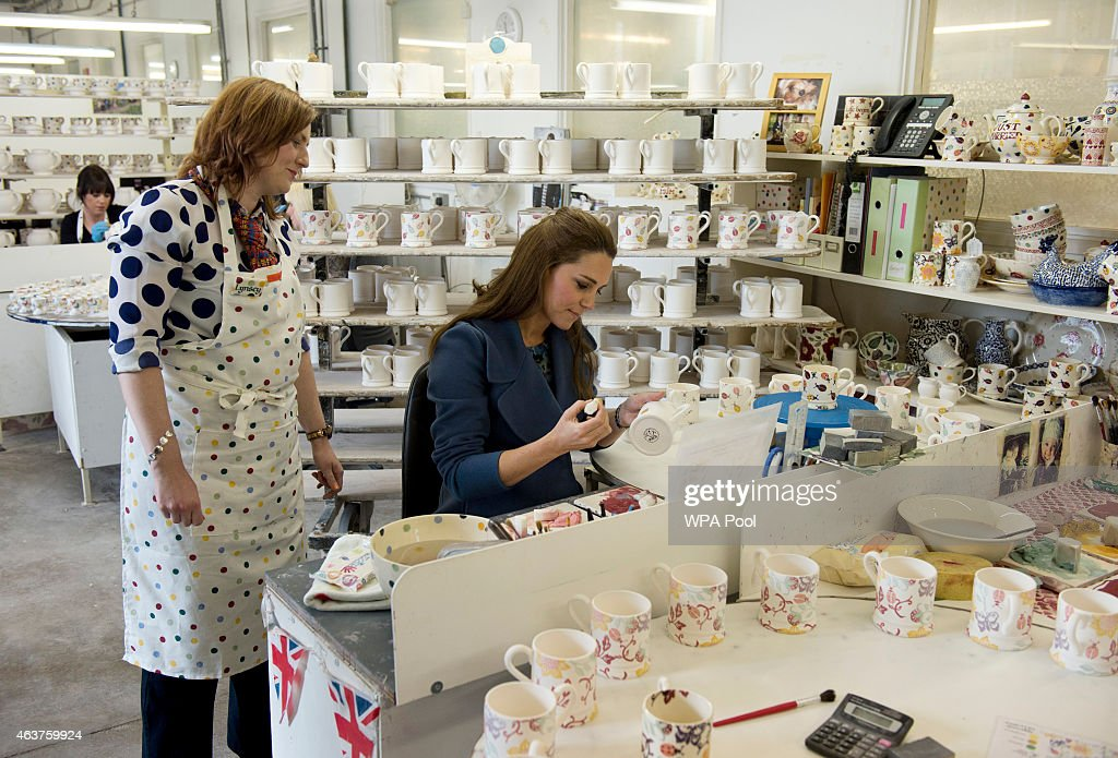 Catherine, Duchess of Cambridge Visits Emma Bridgewater Factory : News Photo