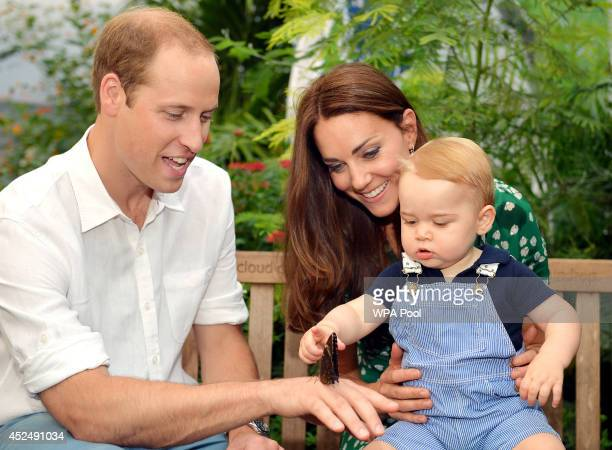 Catherine Duchess of Cambridge holds Prince George as he points to a butterfly on Prince William Duke of Cambridge's hand as they visit the...
