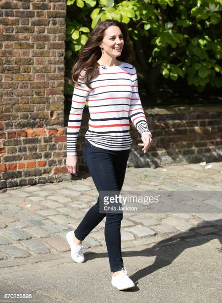 Catherine, Duchess of Cambridge hosts a reception for runners from Team Heads Together ahead of the 2017 Virgin Money London Marathon, at Kensington...
