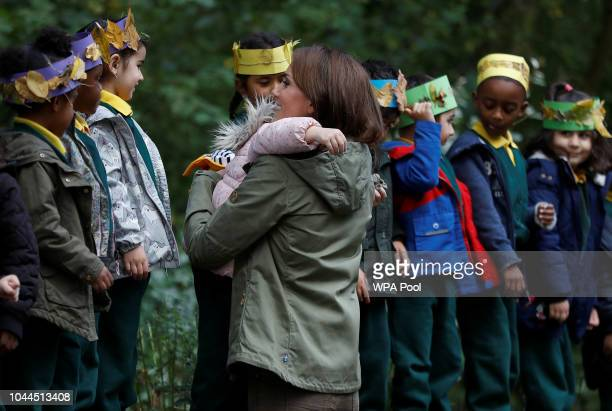 Catherine Duchess of Cambridge hugs Amwaar as she leaves Sayers Croft Forest School and Wildlife Garden on October 2 2018 in London England Sayers...
