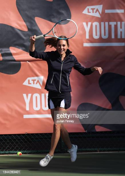 Catherine, Duchess of Cambridge in action at the LTA's National Tennis Centre for The Homecoming and to celebrate the US Open winners success on...