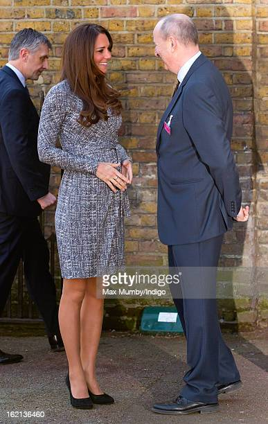 Catherine Duchess of Cambridge in her role as Patron of Action on Addiction is greeted by Nick Barton as she arrives for a visit to Hope House a...