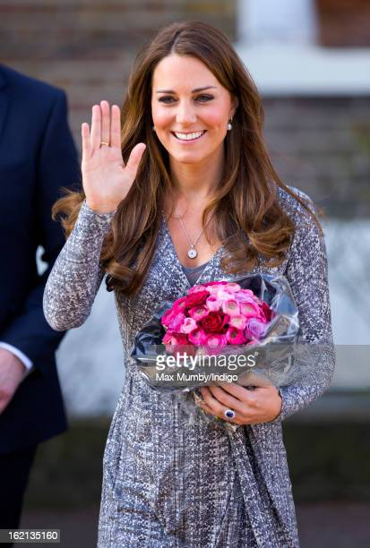 Catherine Duchess of Cambridge in her role as Patron of Action on Addiction waves as she leaves Hope House a residential treatment centre on February...