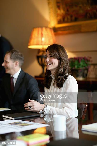 Catherine Duchess of Cambridge in the 'News Room' at Kensington Palace on February 17 2016 in London England The Duchess of Cambridge is supporting...