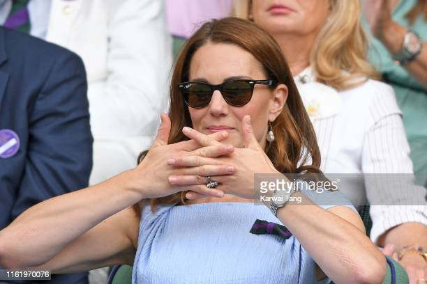 Catherine Duchess of Cambridge in the Royal Box on Centre court during Men's Finals Day of the Wimbledon Tennis Championships at All England Lawn...