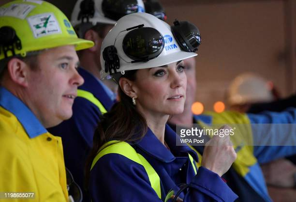 Catherine, Duchess of Cambridge inspects operations with Works Manager Carl Banfield at the control centre at Tata Steel on February 04, 2020 in Port...