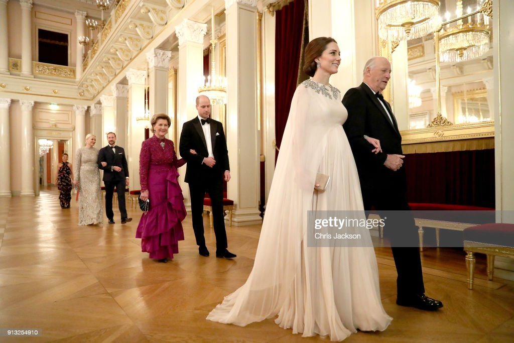 Catherine, Duchess of Cambridge (second right) is escorted into dinner by King Harald V of Norway and Prince William, Duke of Cambridge (C) is escorted by Queen Sonja of Norway at the Royal Palace on day 3 of their visit to Sweden and Norway on February 1, 2018 in Oslo, Norway.