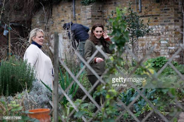 Catherine Duchess of Cambridge is given a tour of allotments as she visits Islington Community Garden on January 15 2019 in London England