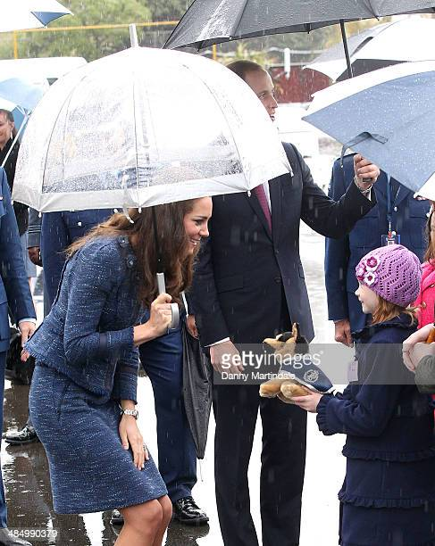 Catherine Duchess of Cambridge is given a toy puppy during her visit to the Royal New Zealand Police College in Aotea Porirua City on April 16 2014...