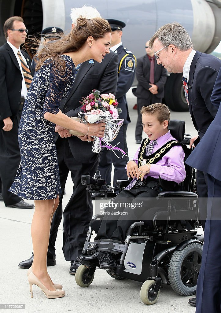 Catherine, Duchess of Cambridge is given flowers by Kellen Schleyer as she arrives at Macdonald-Cartier International Airport on June 30, 2011 in Ottawa, Canada. The newly married Royal Couple have arrived in Canada today for their first joint overseas tour. Ottawa is the start of a 12-day visit to North America which will take in some of the more remote areas of the country such as Prince Edward Island, Yellowknife and Calgary. The Royal couple will also join millions of Canadians to take part in tomorrow's Canada Day celebrations which mark Canada's 144th Birthday.