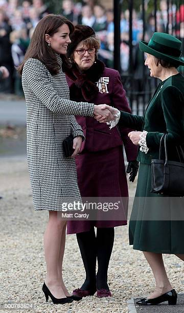 Catherine Duchess of Cambridge is greeted as she arrives at the Action on Addiction Centre for addiction treatment studies at Action on Addiction...