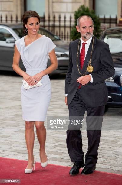 Catherine Duchess of Cambridge is greeted by Christopher Lebrun President of the RA as she attends the UK's Creative Industries Reception at the...