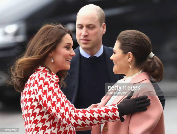 Catherine Duchess of Cambridge is greeted by Crown Princess Victoria of Sweden as they visit the Karolinska Institute to meet with academics and...