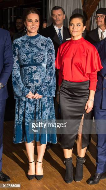 Catherine Duchess of Cambridge is greeted by Crown Princess Victoria of Sweden during a reception to celebrate Swedish culture at the Fotografiska...