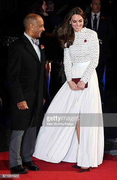 Catherine, Duchess of Cambridge, is greeted by the Lord-Lieutenant of London Kenneth Olisa as she attends the UK Premiere of 'A Street Cat Named Bob'...