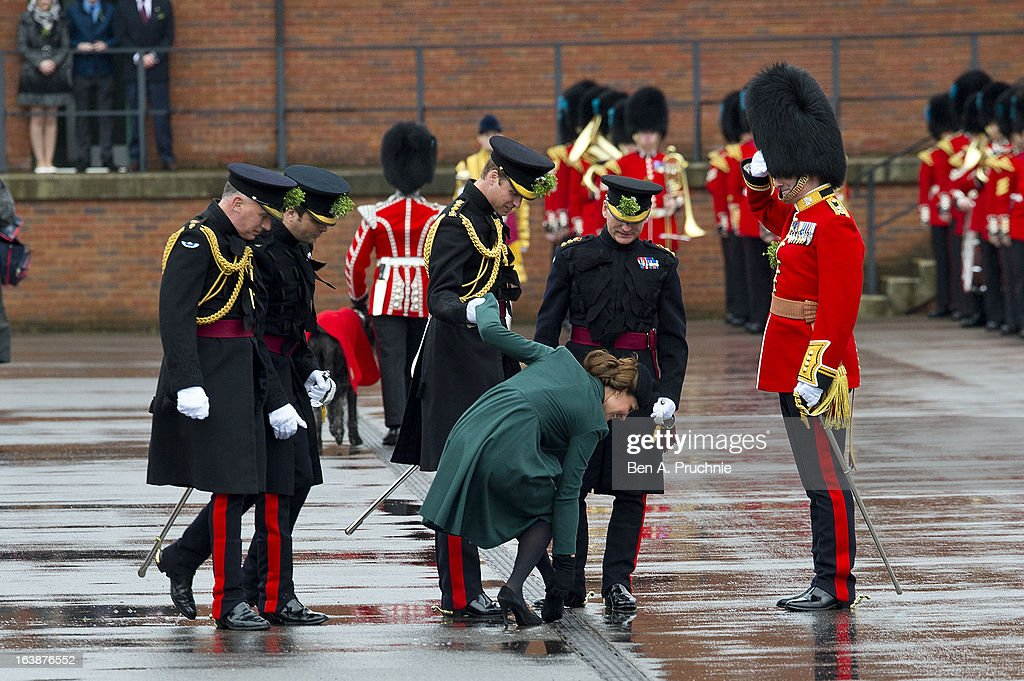 The Duke And Duchess Of Cambridge Visit the 1st Battalion Irish Guards On St Patrick's Day : News Photo