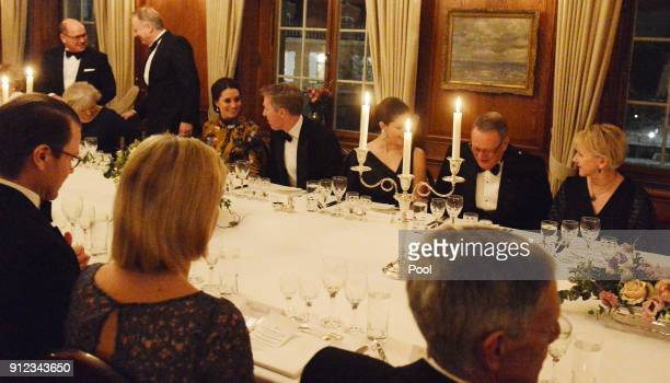 Catherine Duchess of Cambridge is seated next to British Ambassador to Sweden David Cairns for dinner at the British Ambassador's residence during...