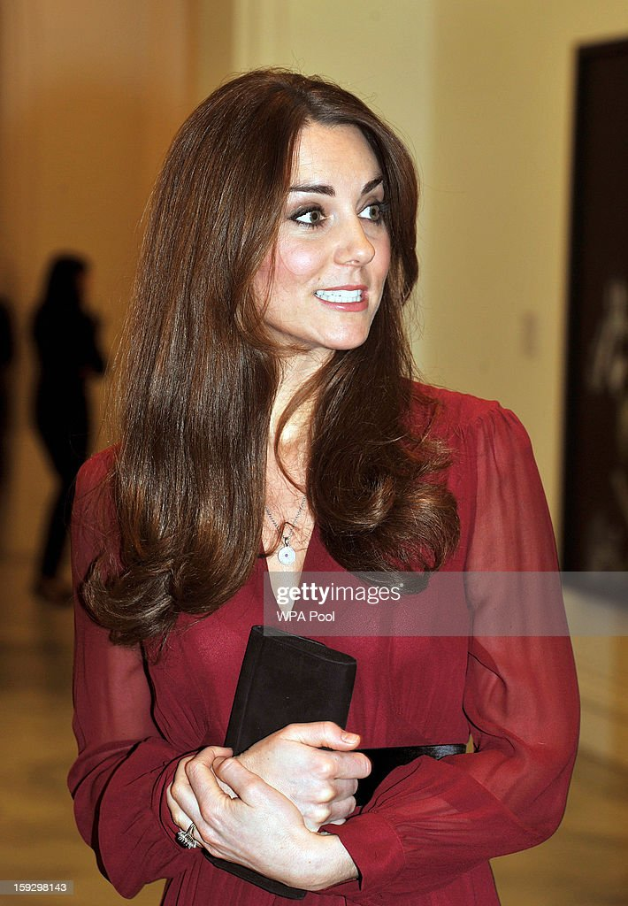 Catherine, Duchess of Cambridge is seen after viewing artist Paul Emsley's new portrait of herself during a private viewing at the National Portrait Gallery on January 11, 2013 in London, England.