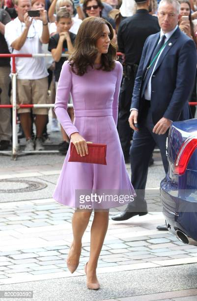 Catherine Duchess of Cambridge is seen arriving to Maritime Museum during an official visit to Poland and Germany on July 21 2017 in Hamburg Germany