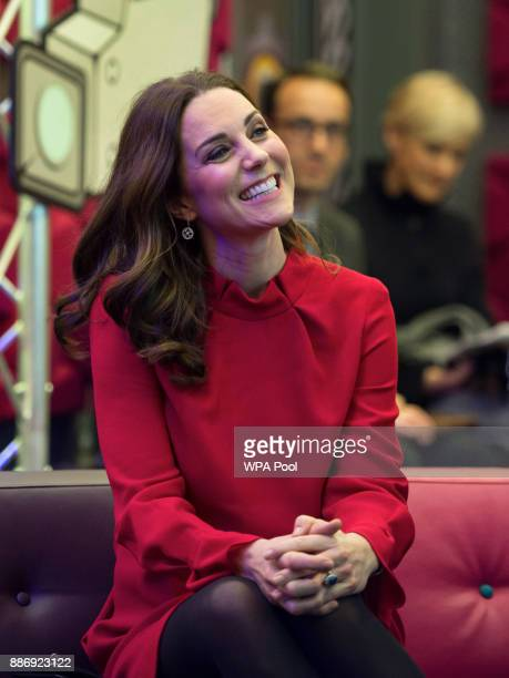 Catherine Duchess of Cambridge is seen as she meets school children during a 'Stepping Out' session at MediaCityUK on December 6 2017 in Salford...