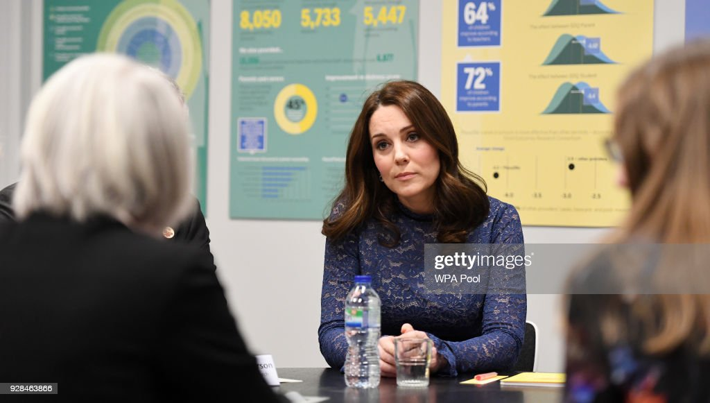 Catherine, Duchess of Cambridge is seen as she officially opens the new headquarters of children's mental health charity Place2Be on March 7, 2018 in London, England.