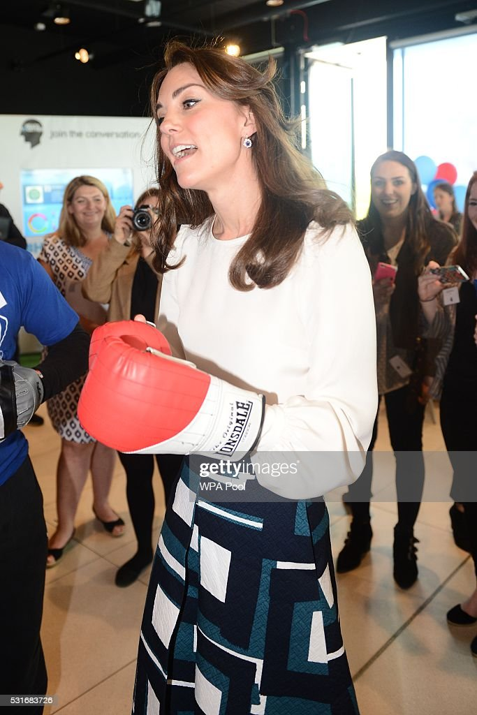 Catherine, Duchess of Cambridge is seen boxing at Queen Elizabeth Olympic Park during the launch of the Heads Together campaign on mental health on May 16, 2016 in London, England.
