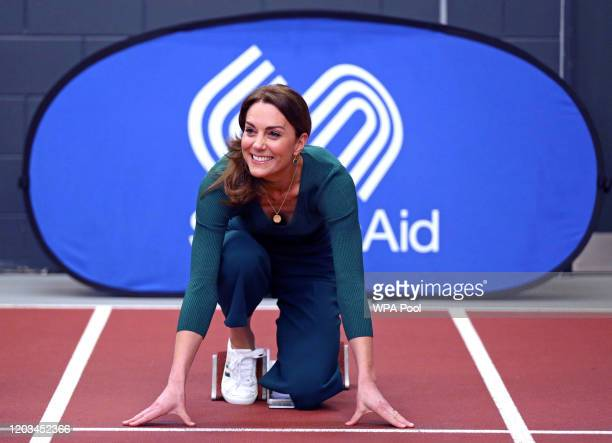 Catherine, Duchess of Cambridge is seen during a SportsAid Stars event at the London Stadium in Stratford on February 26, 2020 in London, England.