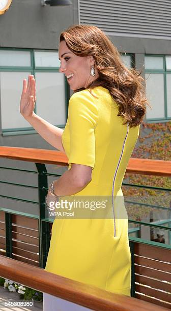 Catherine Duchess of Cambridge is seen during a visit to the Wimbledon Lawn Tennis Championships at the All England Lawn Tennis and Croquet Club on...