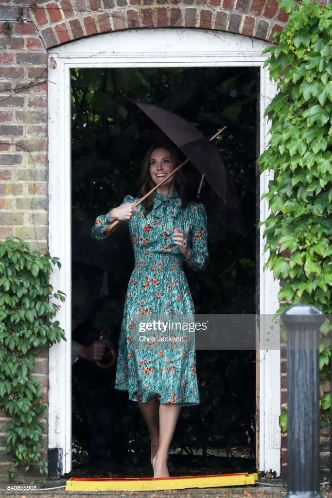 Catherine, Duchess of Cambridge is seen during a visit to The Sunken Garden at Kensington Palace on August 30, 2017 in London, England. The garden has been transformed into a White Garden dedicated in the memory of Princess Diana, mother of The Duke of Cambridge and Prince Harry.