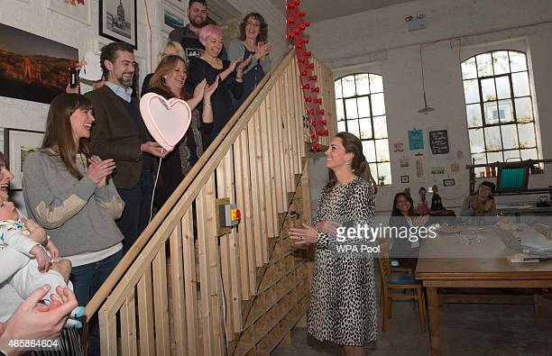Catherine Duchess of Cambridge is seen during her visit to Resort Studios in Cliftonville on March 11 2015 in Margate England