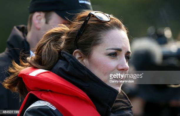 Catherine Duchess of Cambridge is seen during her visit to the Shotover Jet on the Shotover River on April 13 2014 in Queenstown New Zealand The Duke...