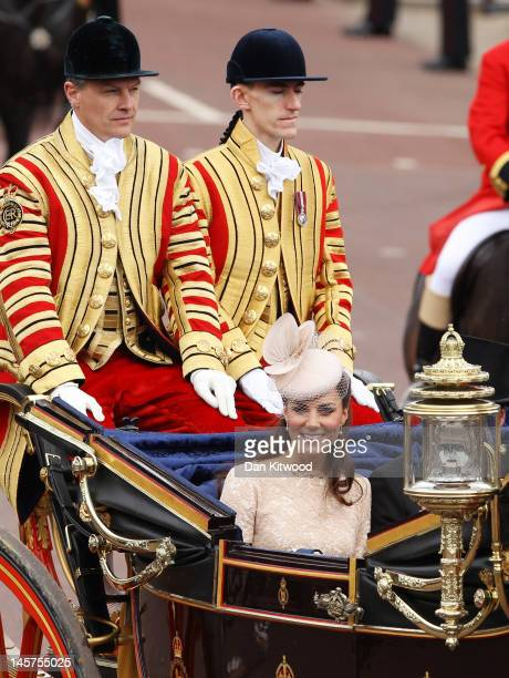 Catherine, Duchess of Cambridge is seen during the Diamond Jubilee carriage procession after the service of thanksgiving at St.Paul's Cathedral on...