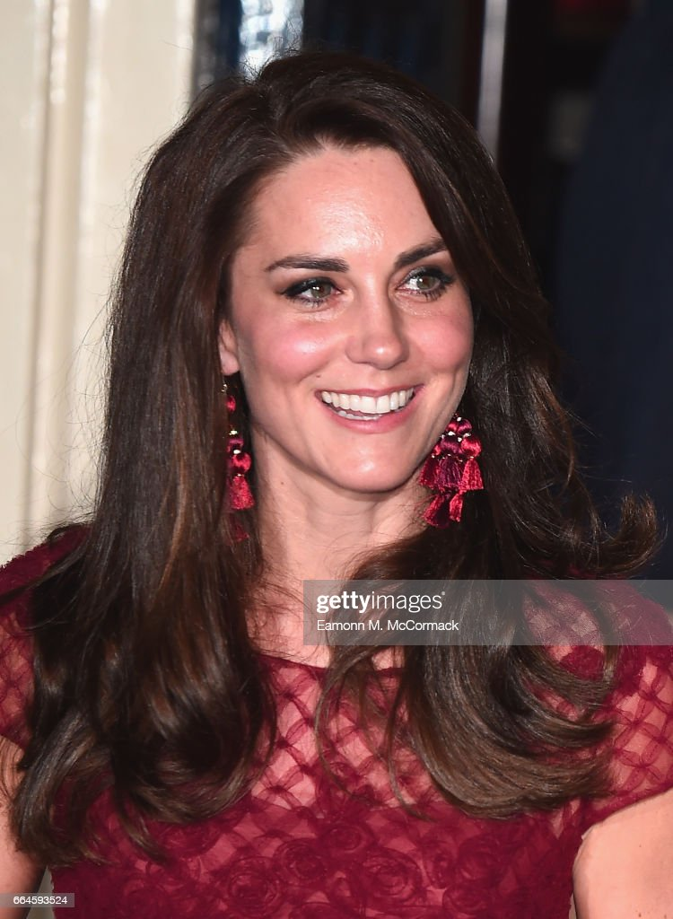 Catherine, Duchess of Cambridge is seen leaving the opening night of '42nd Street' at Theatre Royal on April 4, 2017 in London, England. The opening night is a fundraising event for the East Anglia Children's Hospice (EACH) of which the Duchess of Cambridge is Patron.
