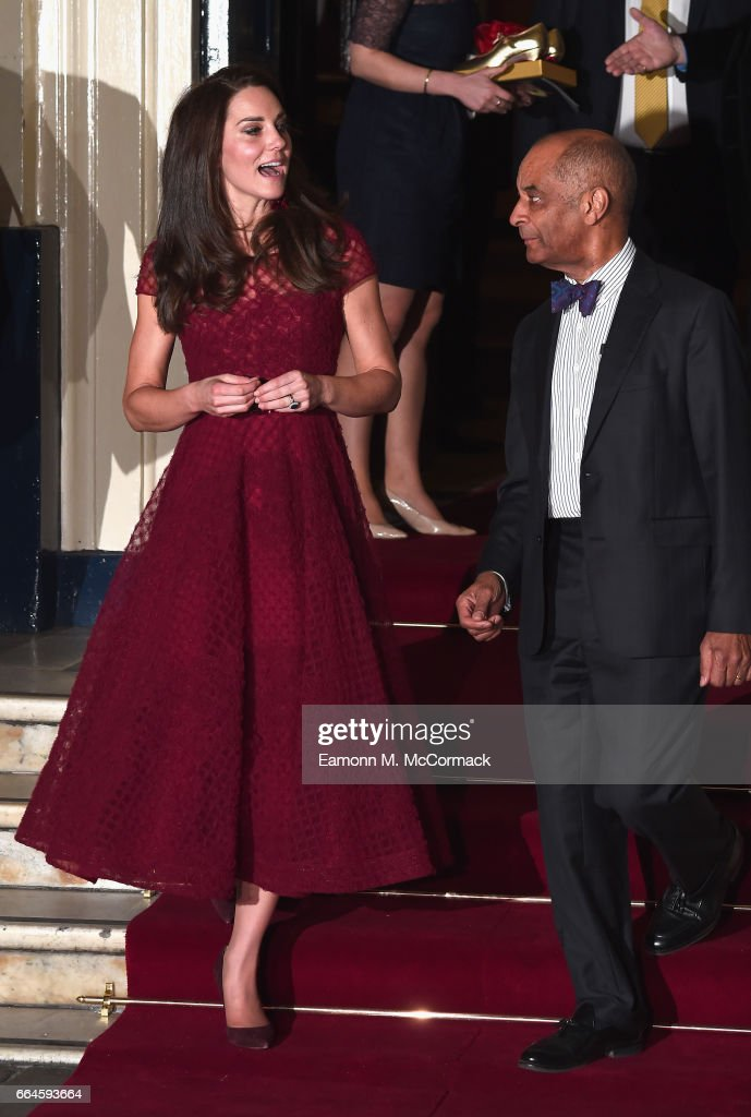 Catherine, Duchess of Cambridge is seen leaving the opening night of '42nd Street' with Kenneth Olisa, The Lord-Lieutenant of Greater London at Theatre Royal on April 4, 2017 in London, England. The opening night is a fundraising event for the East Anglia Children's Hospice (EACH) of which the Duchess of Cambridge is Patron.