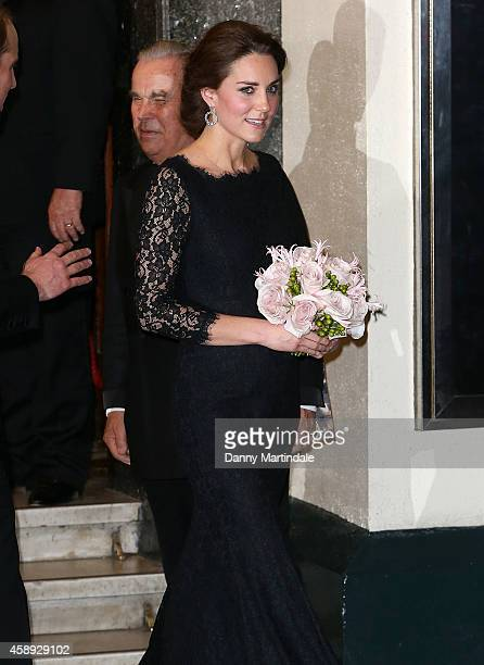Catherine Duchess of Cambridge is seen leaving the The Royal Variety Performanc at London Palladium on November 13 2014 in London England