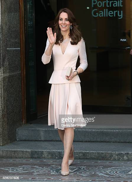 Catherine Duchess of Cambridge is seen leaving the Vogue 100 A Century Of Style exhibition at National Portrait Gallery on May 4 2016 in London...