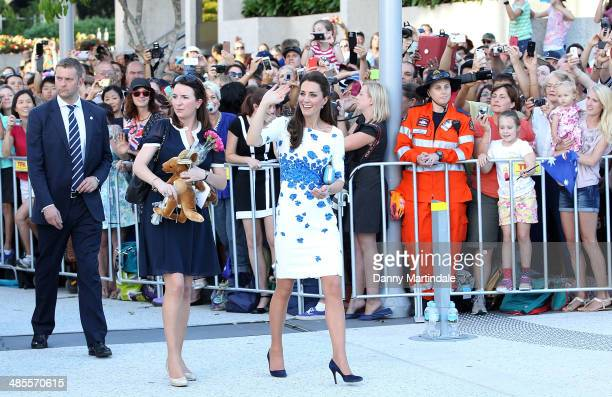 Catherine Duchess of Cambridge is seen on a walk about with Private Secretary Rebecca Deacon on April 19 2014 in Brisbane Australia The Duke and...