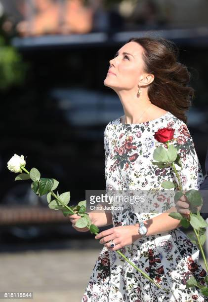 Catherine Duchess of Cambridge is seen on her way to the Solidarity Monument during an official visit to Poland and Germany on July 18 2017 in Gdansk...