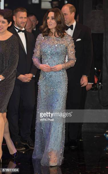 Catherine Duchess of Cambridge is seen on stage as they attend the Royal Variety Performance at the Palladium Theatre on November November 24 2017 in...