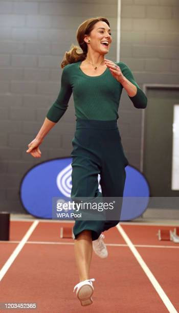 Catherine, Duchess of Cambridge is seen running during a SportsAid Stars event at the London Stadium in Stratford on February 26, 2020 in London,...