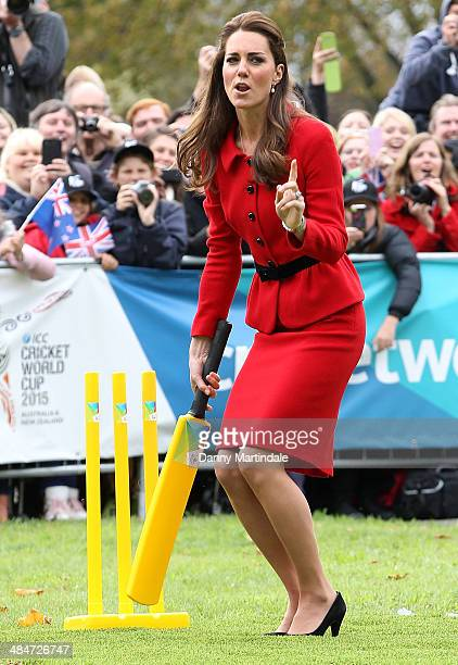 Catherine Duchess of Cambridge is seen telling off Prince William Duke of Cambridge for throwing a bad ball at her while they play cricket together...