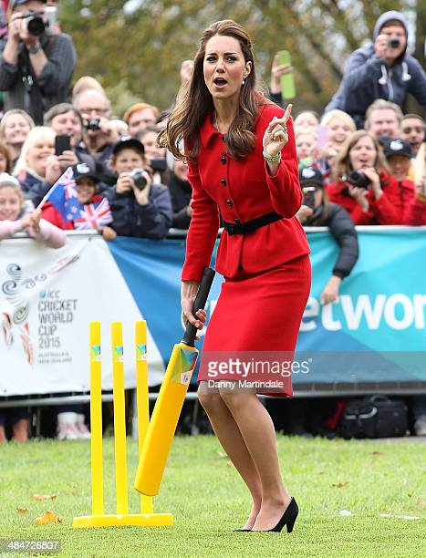 Catherine, Duchess of Cambridge is seen telling off Prince William, Duke of Cambridge for throwing a bad ball at her while they play cricket together...