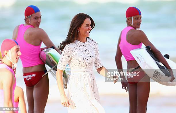 Catherine Duchess of Cambridge is seen walking on Manly Beach on April 18 2014 in Sydney Australia The Duke and Duchess of Cambridge are on a...