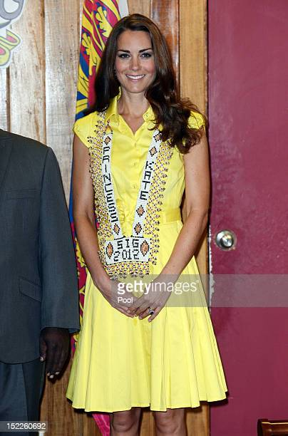 Catherine Duchess of Cambridge is seen wearing a personalised necklace given to her as she visits the Prime Minister of the Solomon Islands Gordon...