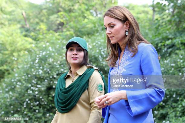 Catherine Duchess of Cambridge is shown around by a ranger before joining a gathering of children from three different schools taking part in a...