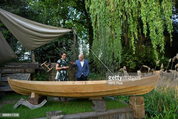 Catherine Duchess of Cambridge is shown the IBTC Lowestoft Broadland Boatbuilder's Garden as she visits the RHS Chelsea Flower Show press day at...