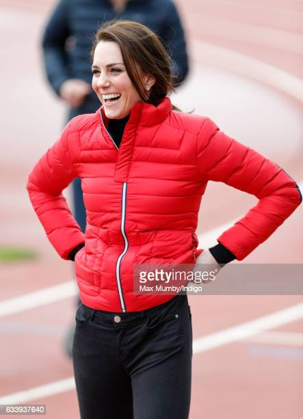Catherine Duchess of Cambridge joins a Team Heads Together London Marathon Training Day at the Queen Elizabeth Olympic Park on February 5 2017 in...