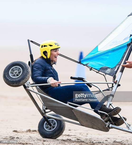 Catherine, Duchess of Cambridge joins Fife Young Carers for a session of land yachting on West Sands beach at St Andrews, hosted by local company...