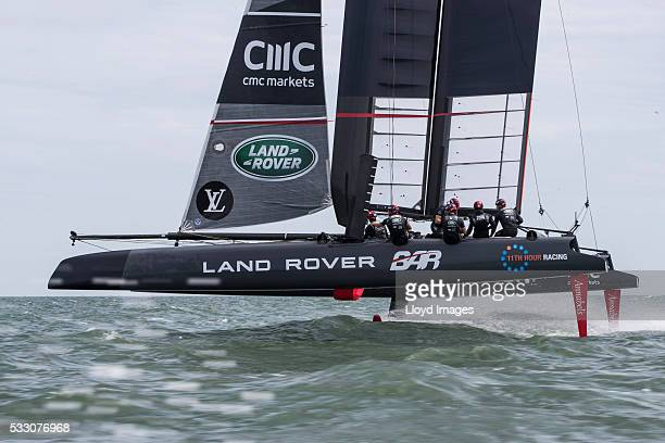 Catherine Duchess of Cambridge joins the Land Rover BAR team on board their training boat as they helm and sail the teams foiling race catamaran...